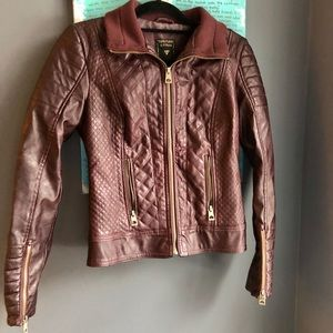GUESS Genuine Leather Burgundy Jacket XS